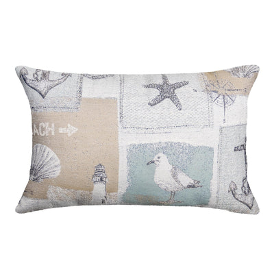 Gulls Point Decorative Pillow - Beach Decor Lumbar Pillow