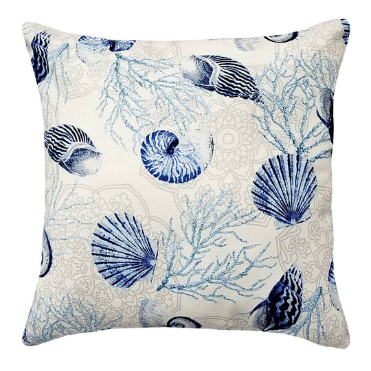 "Shell Dance Blue 14"" Toss Pillow - Reverses to Microsuede Royal Blue"