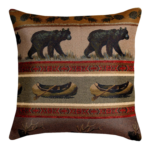 "Woodlands Northwoods 17"" Pillow Cover - Optional Feather Pillow Insert"