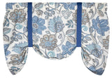 Boutique Blue Floral Tie-Up Valance or Tier Curtain Window Treatments
