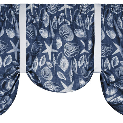 Shoreline Navy Tie-Up Valance or Tier Curtain Window Treatments - Seashells