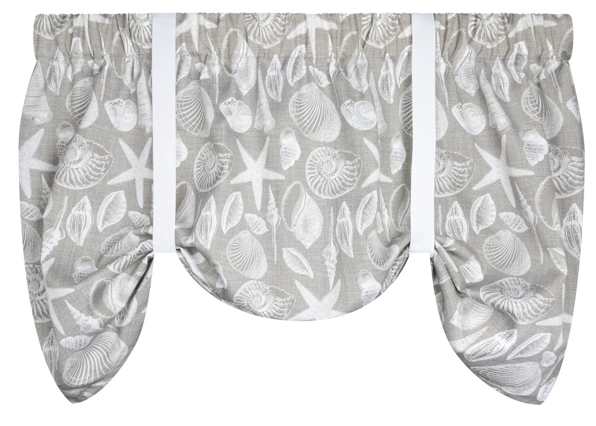 Shoreline Grey Tie-Up Valance or Tier Curtain Window Treatments - Seashells