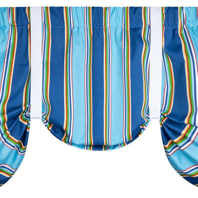 Westport Cobalt Tie-Up Valance or Tier Curtain Window Treatments - Cabana Stripe
