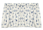 Shell Dance Blue Tie-Up Valance or Tier Curtain Window Treatments - Beach Decor