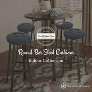 Cotton Duck Pale Bronze Barstool Cover with Cushion and Adjustable Yoke