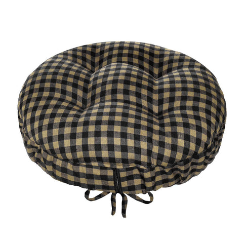 Checkers Black & Tan Round Barstool Cover | Barnett Home Decor