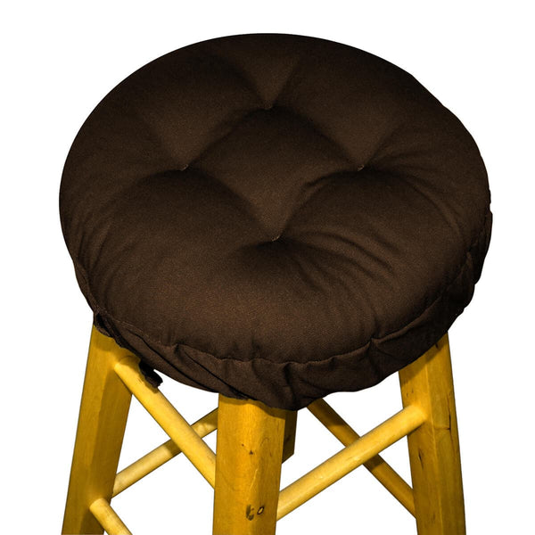 Cotton Duck Brown Barstool Cover with Cushion and Adjustable Yoke