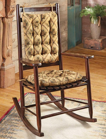 Pine Cones Beige Rocking Chair Cushions - Latex Foam Fill