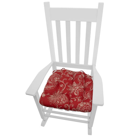 Benson Red Floral Rocking Chair Seat Cushion - Latex Foam Fill, Reversible, Machine Washable