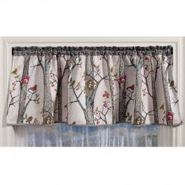Lancy Bird House Cafe Valance - Straight Tailored Window Treatment - Multi