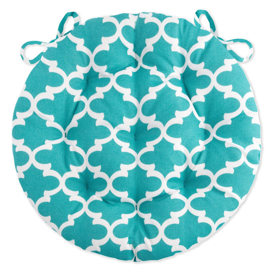fulton aqua quatrefoil bistro cushions - indoor /outdoor | barnett home decor