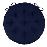 "Rave Indigo Blue Bistro Chair Pad - 16"" Round Cushion with Ties - Indoor/Outdoor"