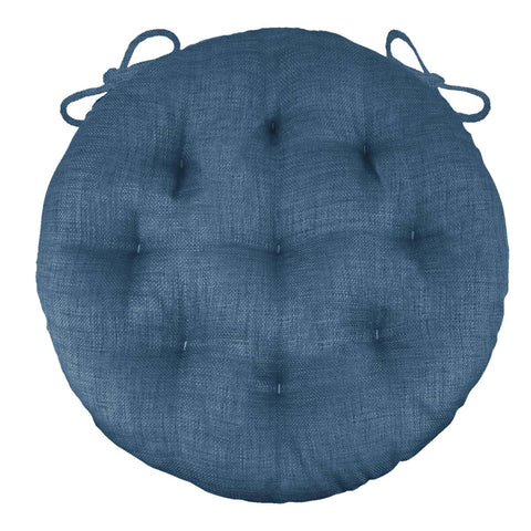 "Rave Pacific Blue Bistro Chair Pad - 16"" Round Cushion with Ties - Indoor / Outdoor"