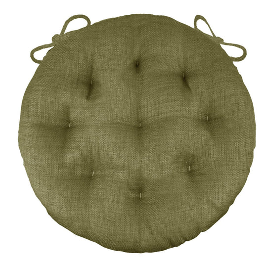"Rave Sage Green Bistro Chair Pad - 16"" Round Cushion with Ties -Barnett Home Decor - Indoor/Outdoor"