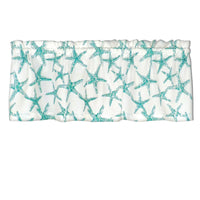 Sea Shore Starfish Aqua & White Cafe Valances - Straight Tailored Window Treatments
