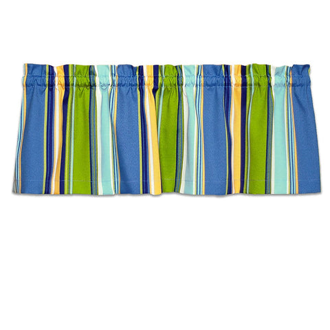 Westport Blue Cabana Strip Cafe Valance - Straight Tailored Window Treatment | Barnett Home Decor