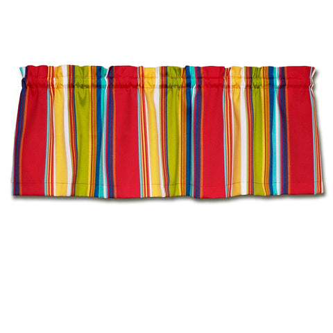 Westport Red Cabana Stripe Cafe Valances - Straight Tailored Window Treatments