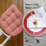 Cassidy Seersucker Red Gingham Dining Chair Cushions - Barnett Home Decor - Red & White