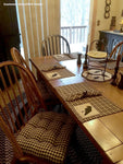 Checkers Black and Tan Plaid Dining Chair Cushion - Barnett Home Decor - Black & Tan