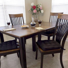Cotton Duck Black Solid Color Dining Chair Pads  - Latex Foam Fill - Reversible