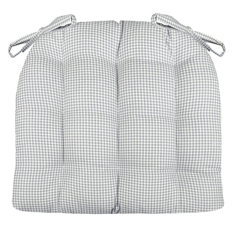 Madrid Grey Gingham Dining Chair Pads - Latex Foam Fill, Reversible
