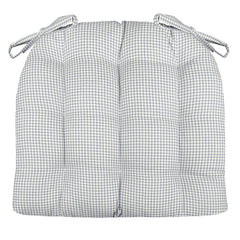 Madrid Grey Gingham Dining Chair Cushions - Barnett Home Decor - Grey & White