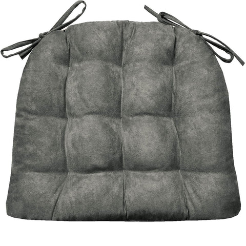 Microsuede Graphite Grey Dining Chair Cushions | Barnett Home Decor | Grey
