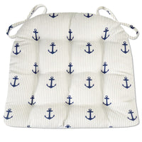 Anchors Stripe Indoor / Outdoor Dining Chair Pads - Navy Blue