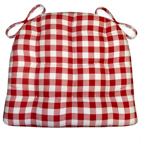 Classic Check Red Dining Chair Cushions | Barnett Home Decor | Red