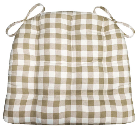 Classic Check Taupe Dining Chair Cushions | Barnett Home Decor | Taupe