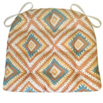 Southwest Dakota Dining Chair Cushions - Barnett Home Decor - Turquoise, White, & Copper