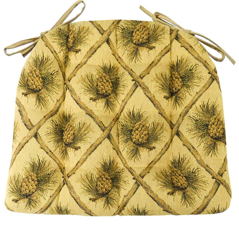 Wilderness Pinecones Beige Dining Chair Cushions - Barnett Home Decor - Yellow, Green, & Brown