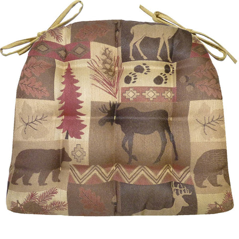 Wilderness Summit Garnet Dining Chair Cushions - Barnett Home Decor - Brown, Taupe, & Red,
