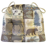 Wilderness Summit Lake Dining Chair Cushions - Barnett Home Decor - Brown, Taupe, Blue, & Beige
