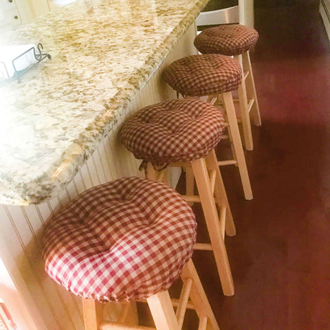 Farmhouse Dark Red & Tan  Bar Stool Cover with Cushion and Adjustable Yoke
