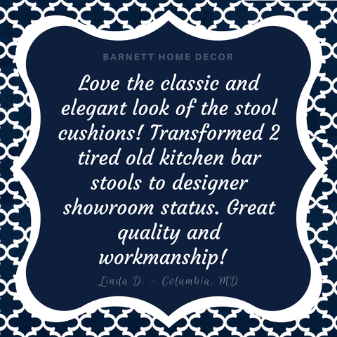 Fulton Ogee Navy Blue Indoor Outdoor Barstool Cover Customer Testimonial