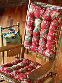 Bethany Red Floral Rocking Chair Cushions  - Machine Washable