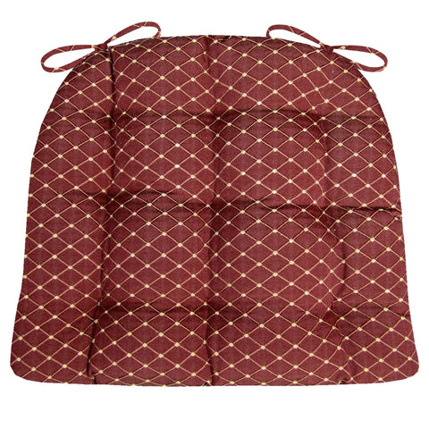 Tiffany Wine Red Brocade Dining Chair Pad - Latex Foam Fill - Reversible