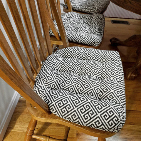 Greek Key Dining Chair Pad - Latex Foam Fill - Reversible - Great Deals Collection