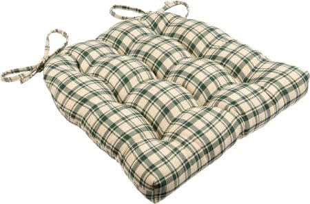 Montgomery Plaid Green Dining Chair Pads - Latex Foam Fill, Reversible