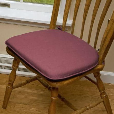 Cotton Duck Wine Red Solid Color Flat Chair Pads  - Polyurethane Foam Fill - Reversible