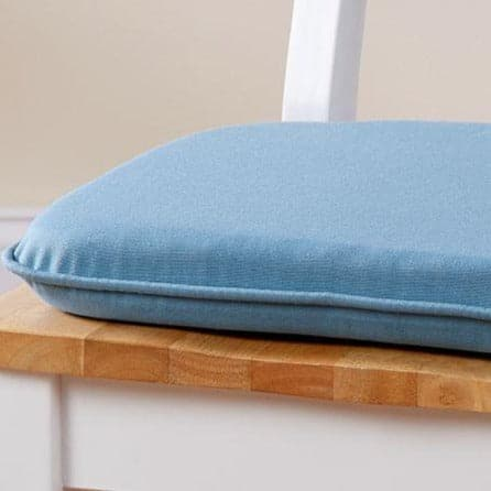 Cotton Duck Bluebell Flat Chair Pads  - Polyurethane Foam Fill - Solid Color