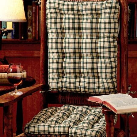 Montgomery Plaid Green Rocking Chair Cushions - Latex Foam Fill, Reversible