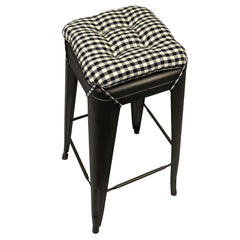 "Farmhouse Check Black & White Square Industrial Bar Stool Cushion - 12"" Black & Cream"