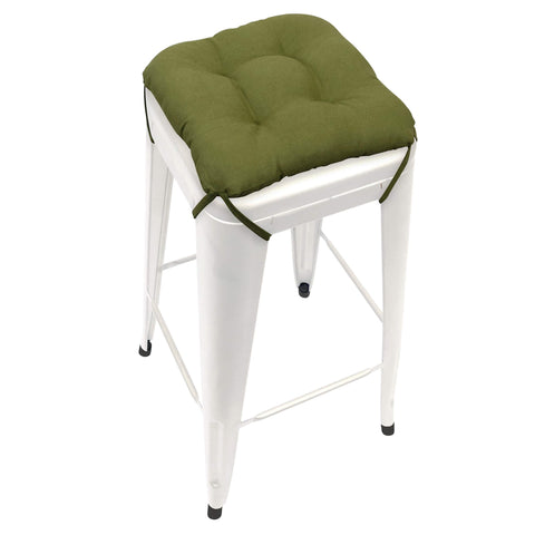 Cotton Duck Boxwood Green Square Industrial Bar Stool Cushion - 12""