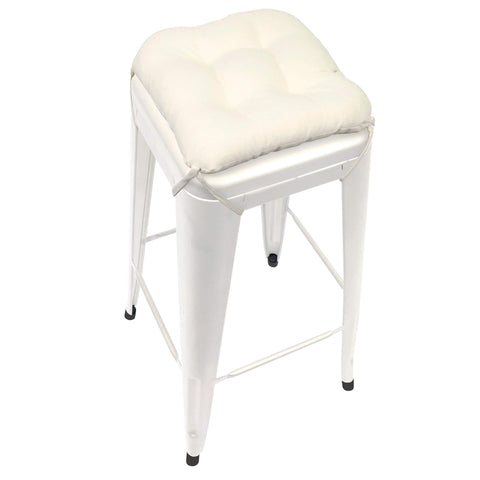 "Cotton Duck Natural Square Industrial Bar Stool Cushion - 12"" Unbleached Cotton"