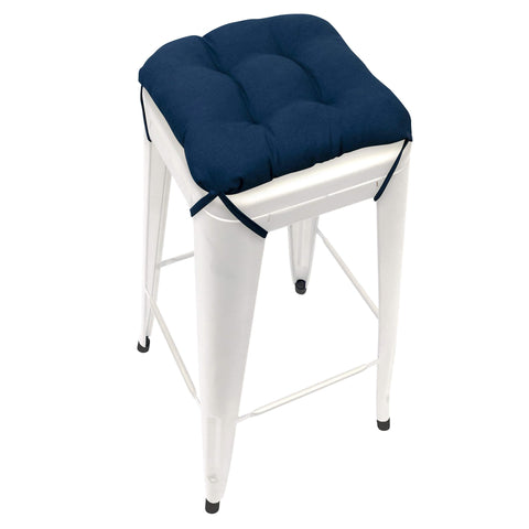 Cotton Duck Navy Blue Square Industrial Bar Stool Cushion - 12""