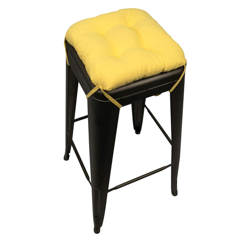 Cotton Duck Yellow Square Industrial Bar Stool Cushion - Latex Foam Fill - Barnett Home Decor