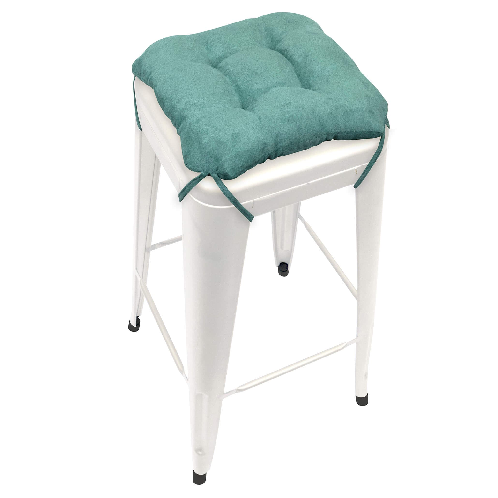 Micro Suede Turquoise Square Industrial Bar Stool Cushion 12 Barnett Home Decor