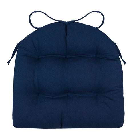 Cotton Duck Navy Blue Industrial Chair Cushion  - Latex Foam Fill - Reversible